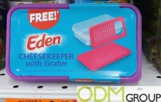 Branded cheesekeeper as GWP by Eden