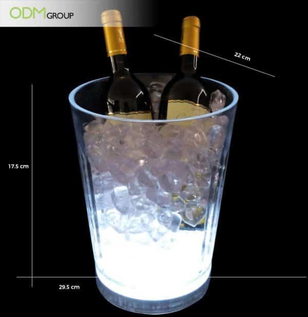 2 bottles plastic light up ice bucket