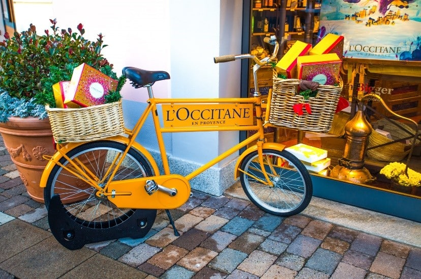 Bicycle Pos Display L Occitane Promotional Strategy