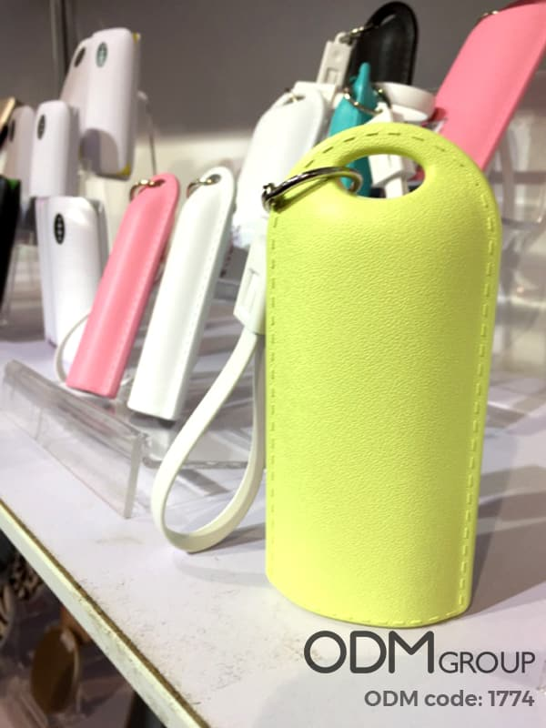 Customized Power Banks with Leather Pouch and Keychain