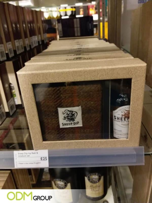 Premium Liquor Promo Gifts by Sheep Dip Branded Glass & Woven Hip Flask