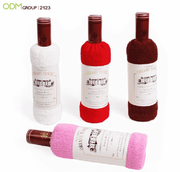 Promotional Wine Gifts Design Kitchen Towel In Wine Bottle Shape