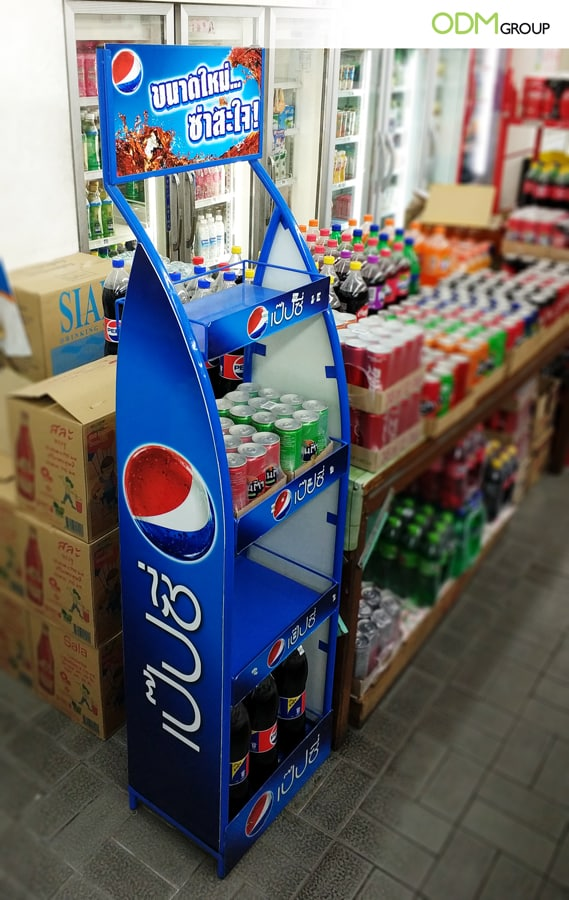 Free Standing Display Unit by Pepsi Attracts Customers in Thailand