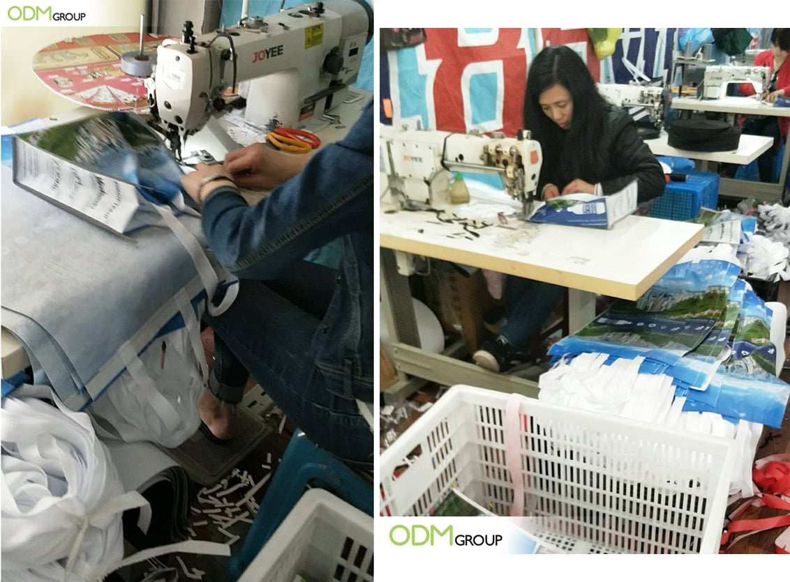 ODM's Patented Reflective Shopping Bags: Stitching and Sewing