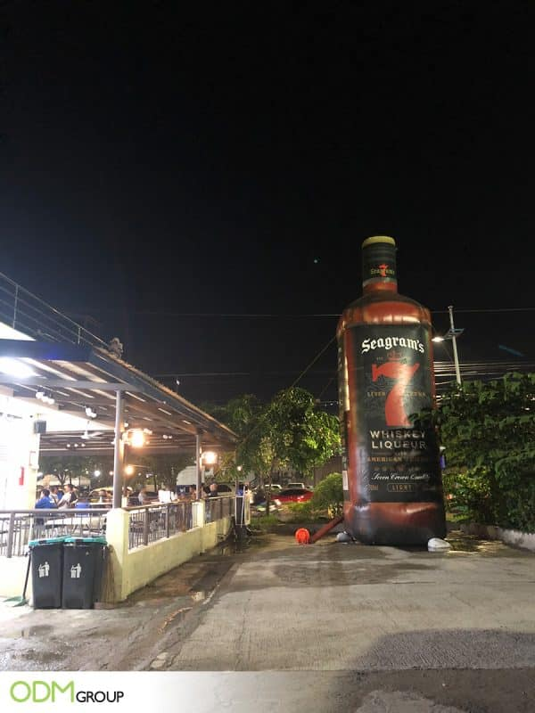 Outdoor Marketing Idea: Custom Inflatable Bottle by Seagram's