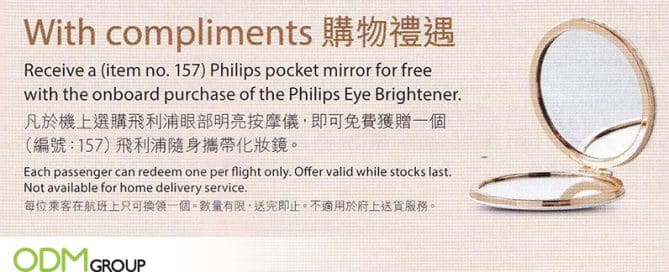 Cosmetic Promotional Gift: GWP Mirror Boosts In-Flight Sales