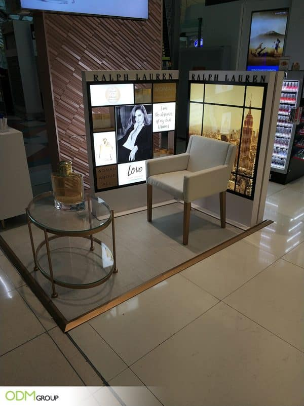Sleek Perfume Display Stand for Ralph Lauren's Advertising Campaign
