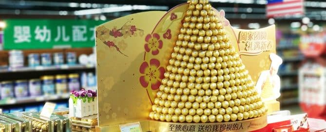 CNY In-Store Marketing Display by Ferrero Commands Attention