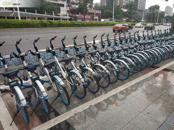 Branded sharing bikes