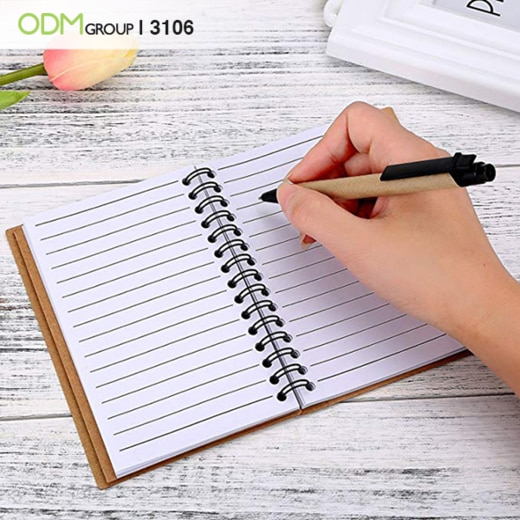 promotional notebook with logo